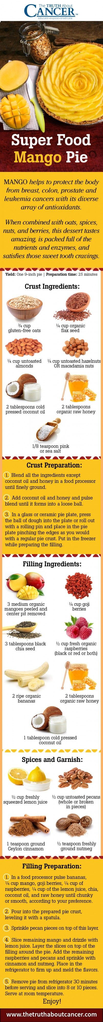 Oh my goodness! Are you looking for a dessert to serve at holiday functions that is not only pretty to look at… but far healthier than typical sugar-filled cakes and pies? Look no further because we have an incredible mango pie recipe above straight from Charlene's kitchen! Click on the image to see the whole recipe and more...