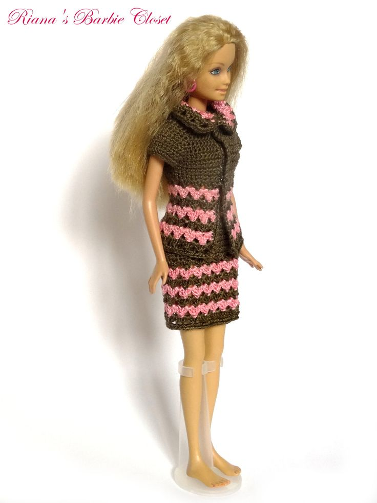 Crochet Barbie Doll Costume in Pink and Brown, OOAK Barbie Doll Clothes, Homemade Business Suit, Ready To Ship by RianasBarbieCloset on Etsy
