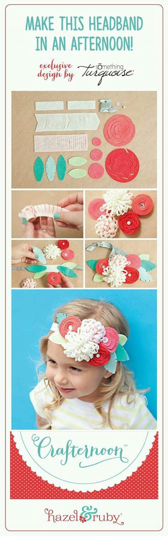 Handmade, felt flowers headband.