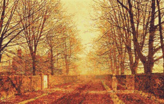 Victorian Landscape Counted Cross Stitch Chart, Atkinson Grimshaw Cross Stitch Pattern, Golden Light, Needlework Pattern, Embroidery Pattern