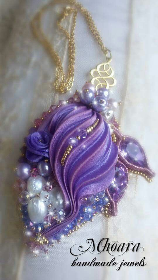 Shibori silk pendant 'Violet' design by Mhoara Jewels