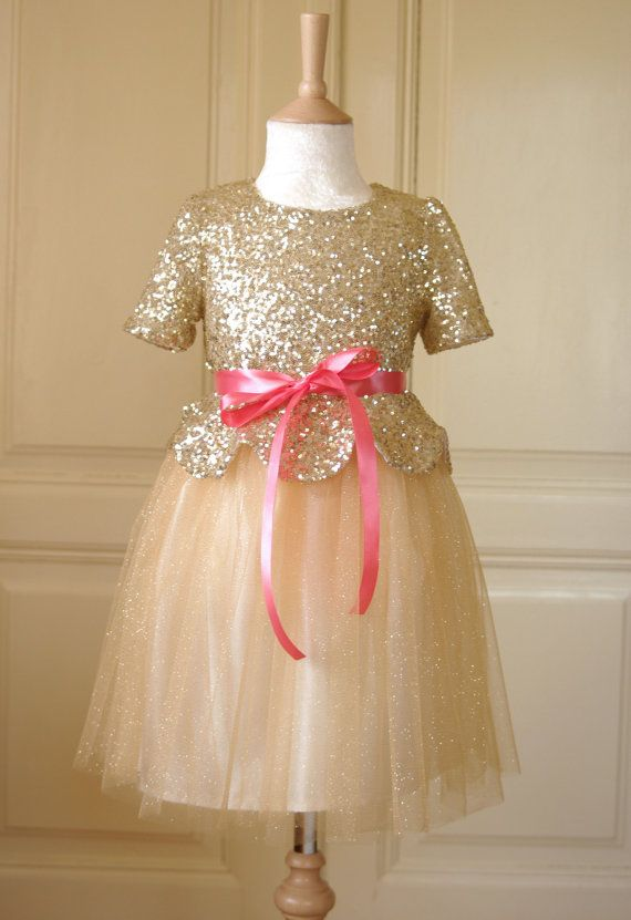 G o l d Flower girl Dress Wedding Bridesmaid by AllegriaBoutique, $89.00