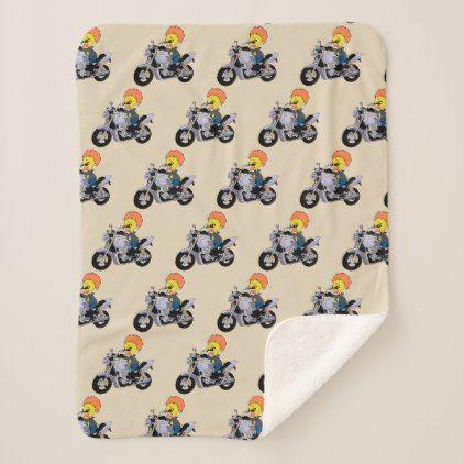 cool biker duck cartoon sherpa blanket - cool gift idea unique present special diy