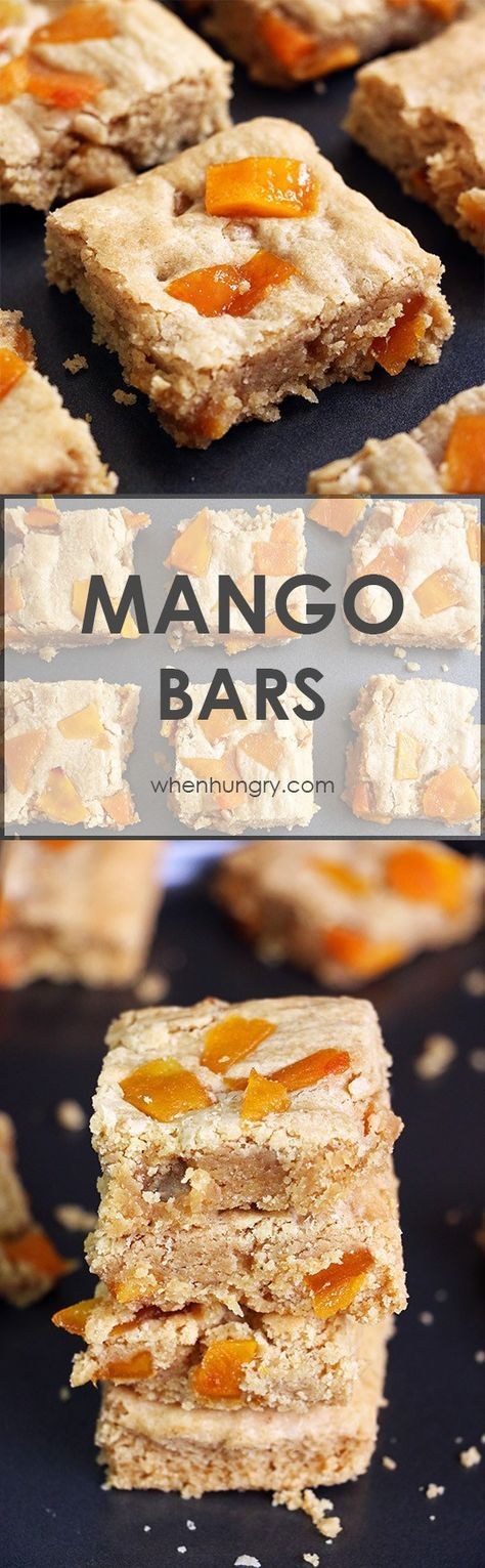 Simple blondies recipe made with browned butter and loaded with chunks of dried mangoes. These blondies burst with mango and caramel or butterscotch flavors.