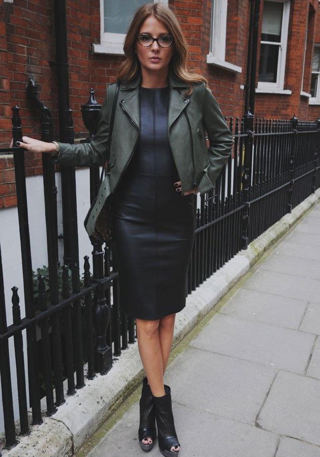 Millie Mackintosh | Leather Dress | Leather Jacket | Leather open toe boots