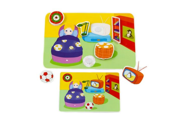 "Picnmix ""Our house"" velcro sticker puzzle set.  The bedroom card. One of 6 that come in the set.  12.99 euro."