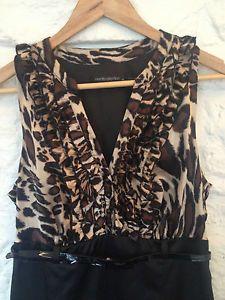 Ladies Black Events Leopard Print Ruffle Dress w/ Belt - Size 10 - RRP $110