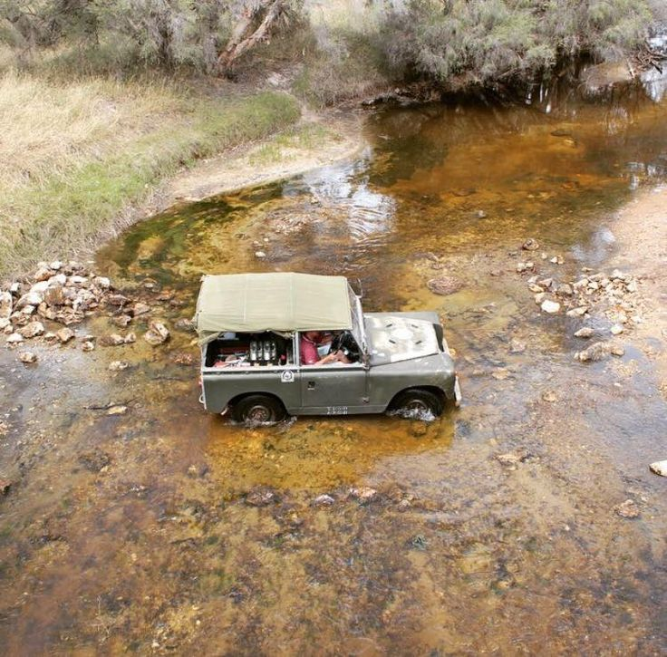 Land Rover 88 Series IIA Soft Top across the river.