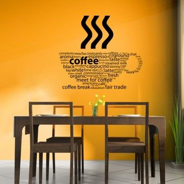 Coffee Types Kitchen Cafe Wall Decals Wall Art Stickers - Drinks - Kitchen - Home u0026 & 22 best Office Wall stickers images on Pinterest | Wall clings Wall ...
