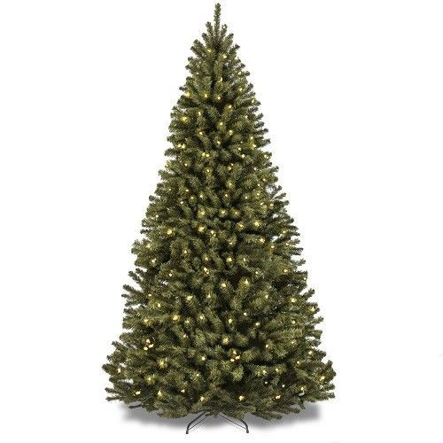 7.5ft PreLit Artificial Christmas Tree Spruce Hinged 550 Clear Lights Xmas Decor #75ftPreLitArtificialChristmasTree #Christmas