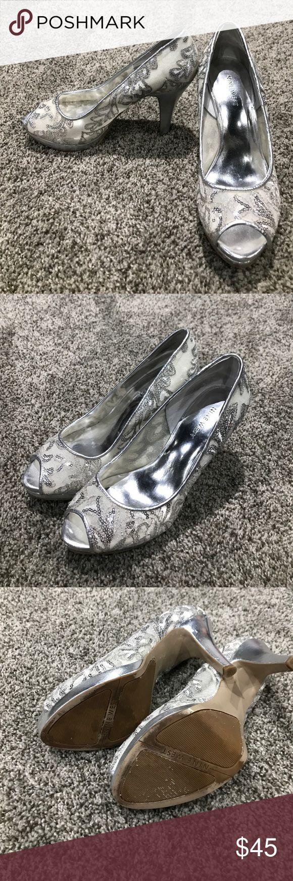 Nine West silver sequence peep toe heels Silver peep toe heels with some silver and white embroidery. Worn once. Great shape. Size 7M Nine West Shoes Heels