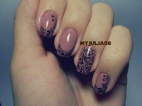 Кружевной дизайн ногтей при помощи акриловых красок - YouTube