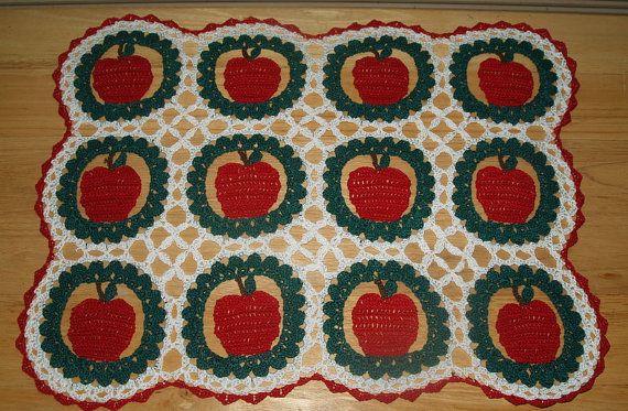 Crochet Apples and Lattice Doily Pattern by vjf25 on Etsy, $4.95