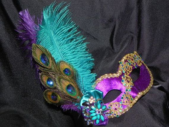 Lace and Feather Masquerade Mask in Purple by TheCraftyChemist07