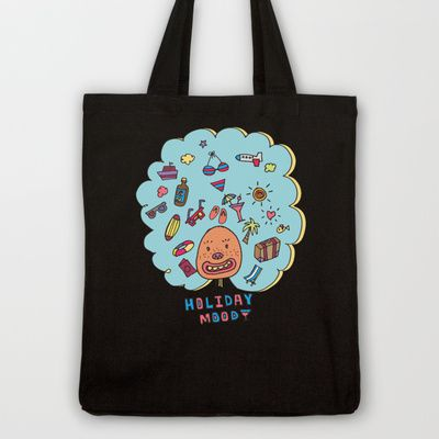 Holiday Mood!  Tote Bag by PINT GRAPHICS - $18.00