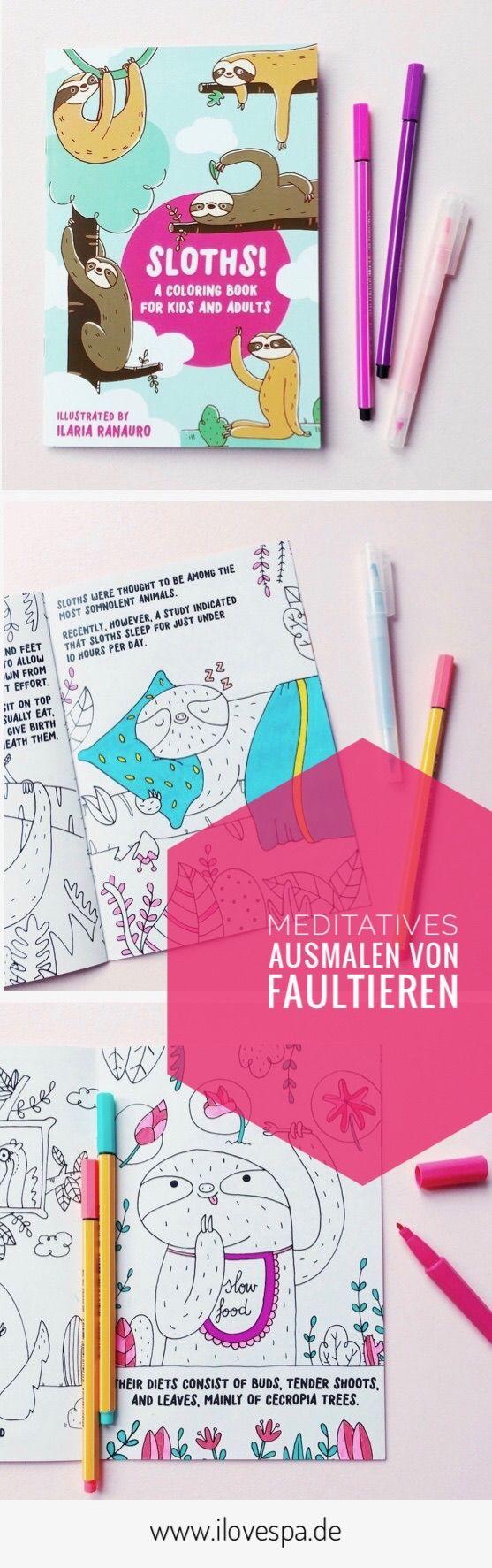 Meditatives Ausmalen von Faultieren mit dem Faultier Malbuch für Erwachsene
