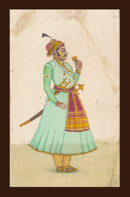 Indian king - Mewar king portrait done in Mewar school of miniature art from vintage collection by the artist. Dimensions - 4X6 inches Painting on vintage handmade paper SOLD, Contact KalaCafe to buy similar portraits