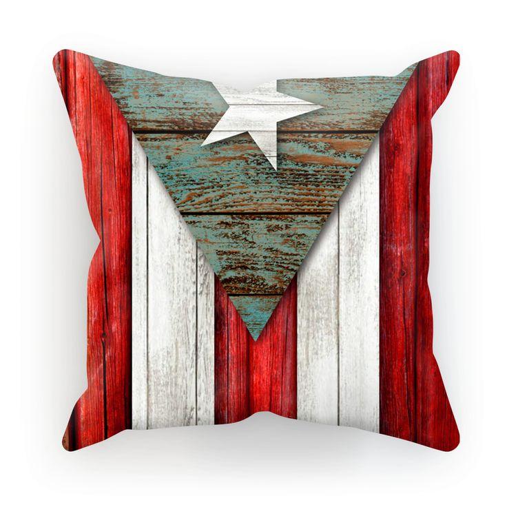 Cojín Bandera Puerto Rico Madera
