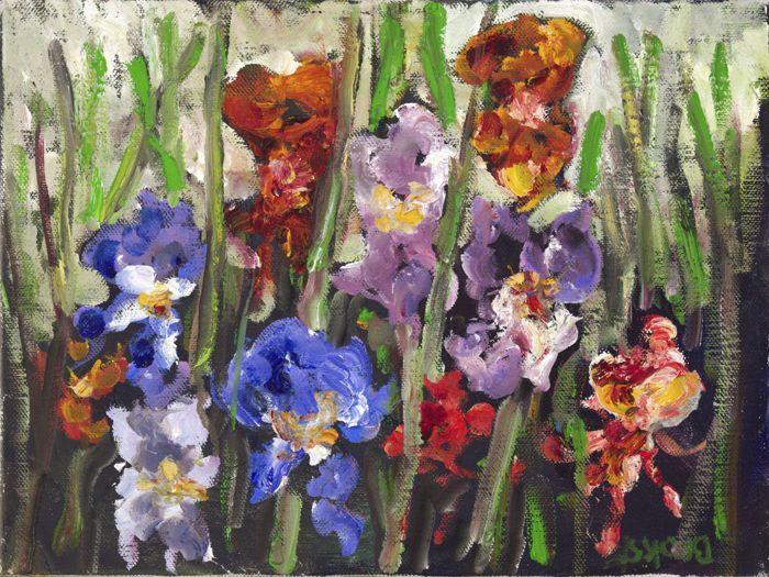 Anke Brokstra (1940) - Gekleurde Irissen  Gaaf impressionistisch schilderij van irissen met betoverende kleuren. Ondersteboven rechtsonder gesigneerd. 30 x 40 cm. in een smaakvolle moderne lijst. Klaar om op te hangen en te genieten. Anke Brokstra werd als 14 jarige in de leer gedaan bij de schilder Freek van den Berg (1918-2000). Ze trouwde met hem en werd zijn model. Ze schilderde een omvangrijk oeuvre bij elkaar ondanks dat ze ook professioneel musicus werd (zie annalen van de Nederlandse…