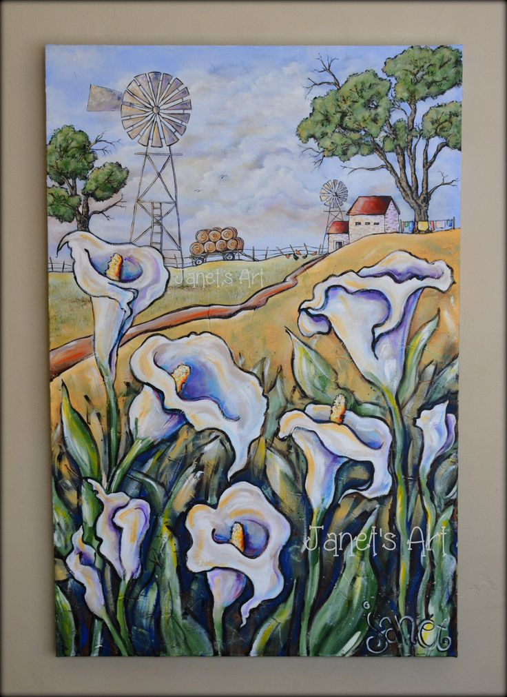 Arum lilies in the field -  Janet's Art - Acrylic on stretched canvas janet1bester@gmail.com