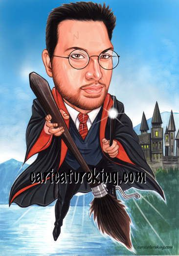 Caricature in Harry Potter style playing Quidditch! caricatureking.com #harrypotter