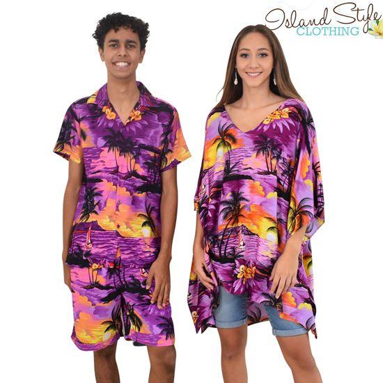Purple Sunset Mens Cabana Set & Ladies Poncho - Hawaiian Print - Luau Party Clothing, Cruisewear, Fancy Dress  http://islandstyleclothing.com.au/matching-sets