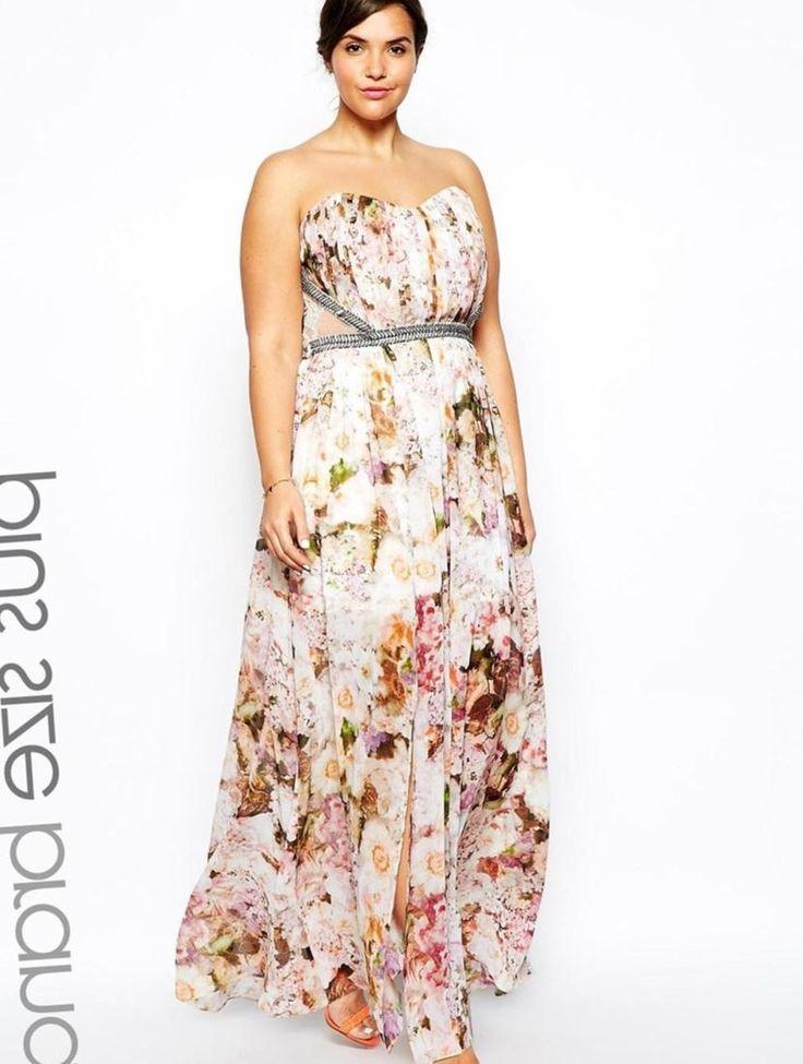 Little Mistress Plus Floral Placement Maxi Dress 135