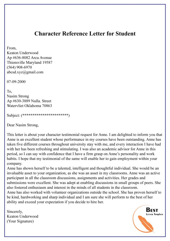 Character Reference Letter Template Format, Sample