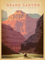 Grand Canyon National Park - After winning international acclaim for creating the Spirit of Nashville  Collection, designer and illustrator Joel Anderson set out to create a  series of classic travel posters that celebrates the history and charm  of America's greatest cities and national parks. He directs a team of  talented Nashville-based artists to keep the collection growing.