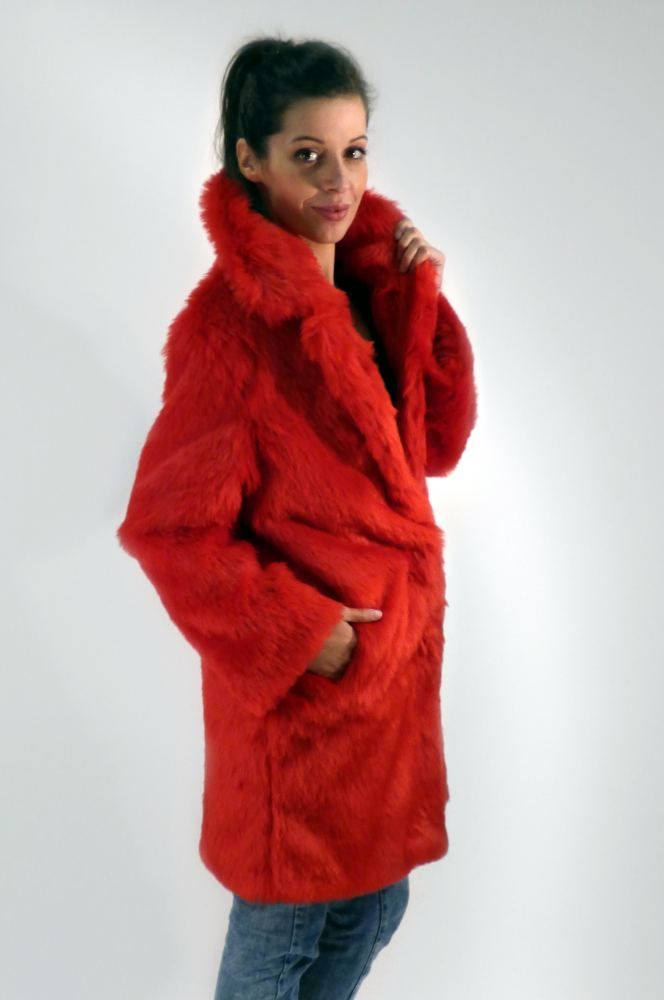 Red Cardinal Faux Fur