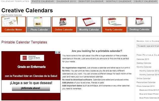 Creative Calendars, crea online calendarios para descargar o imprimir