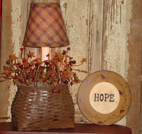 Country Primitive Basket Lamp with Berries and Lamp Shade