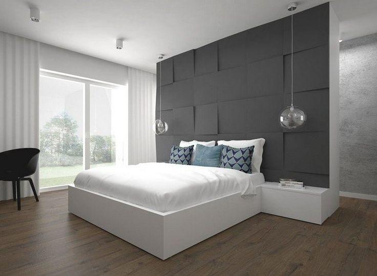 chambre contemporaine avec un design mural 3D en gris mat