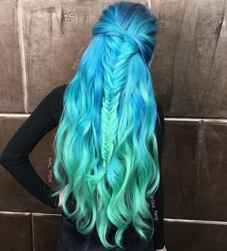 Wavy Mermaid Teal Blue & Aquamarine Green Hair with Fishtail Braid♡ #Hairstyle #Dyed_Hair #Beauty