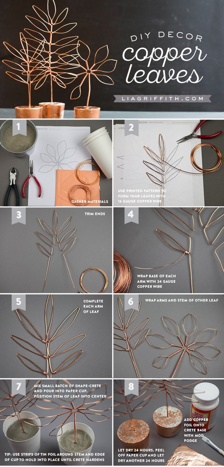 Copper Wire Leaf Decor / An easy DIY project that's fabulous & functional! Use the photo tutorial to make stylish copper wire leaf decor that doubles as a jewelry stand​.