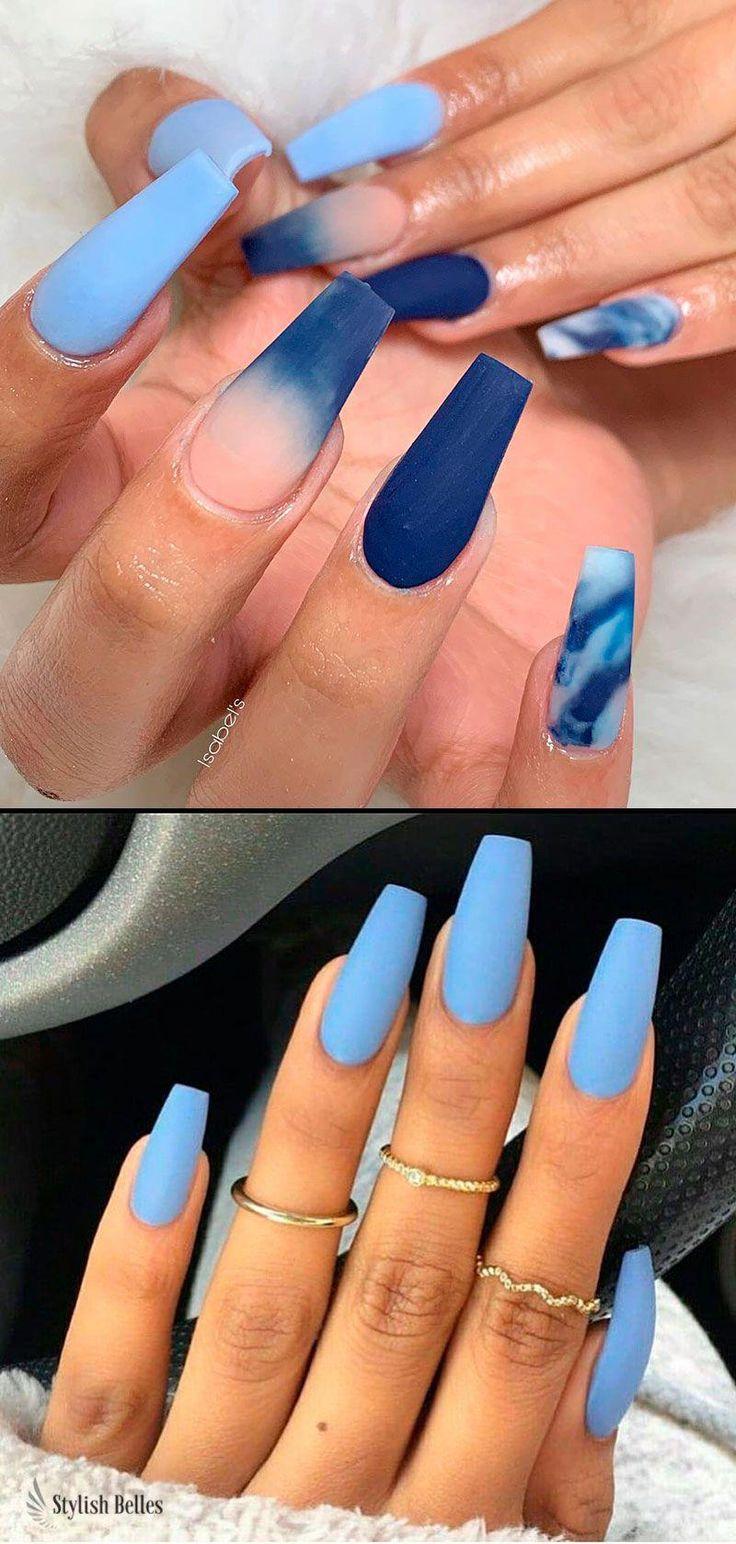 Beautiful matte light blue coffin nails ideas!