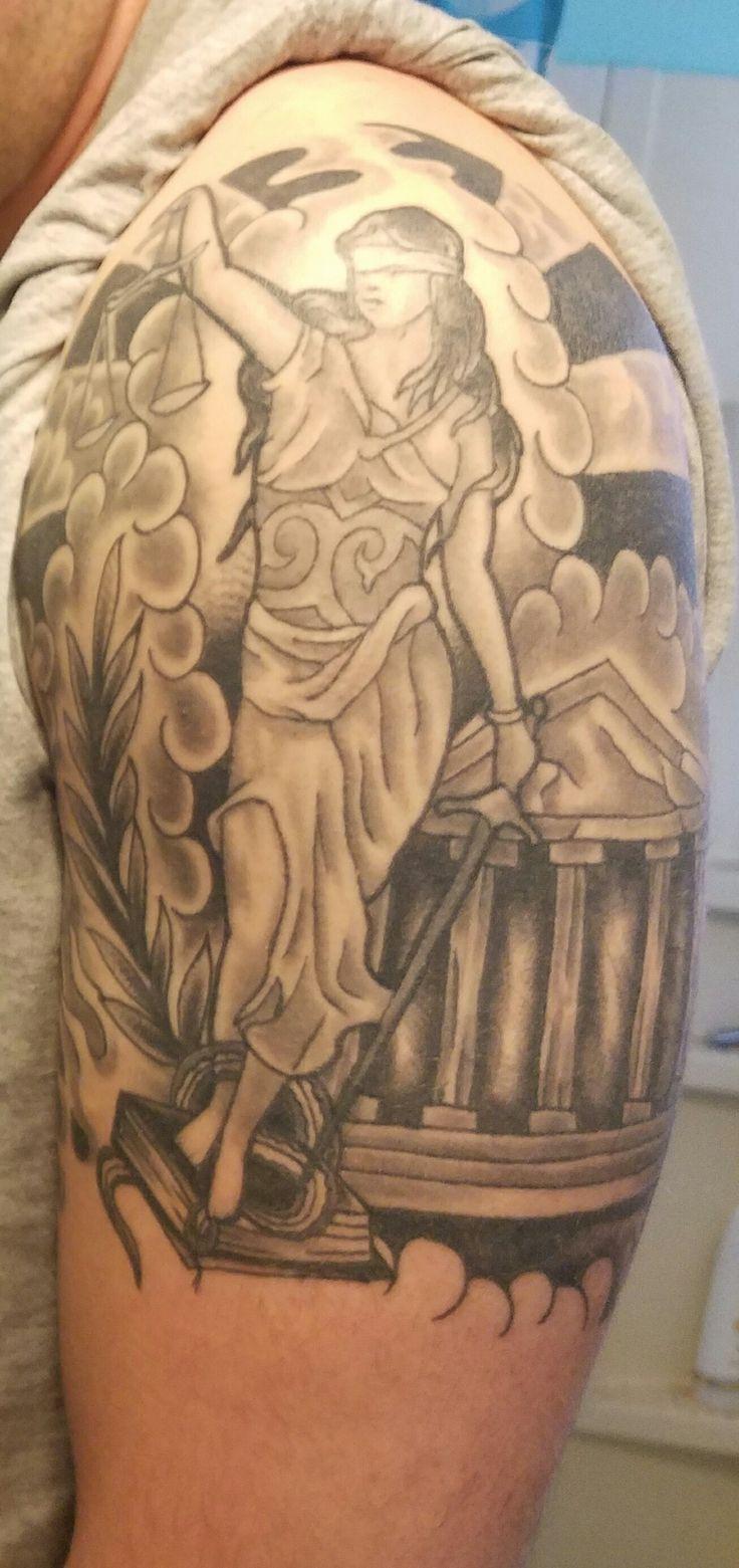 My Lady Justice tattoo, courtesy of Liquid Courage in Omaha, Nebraska. #GoodByeLawSchool #Lawyered