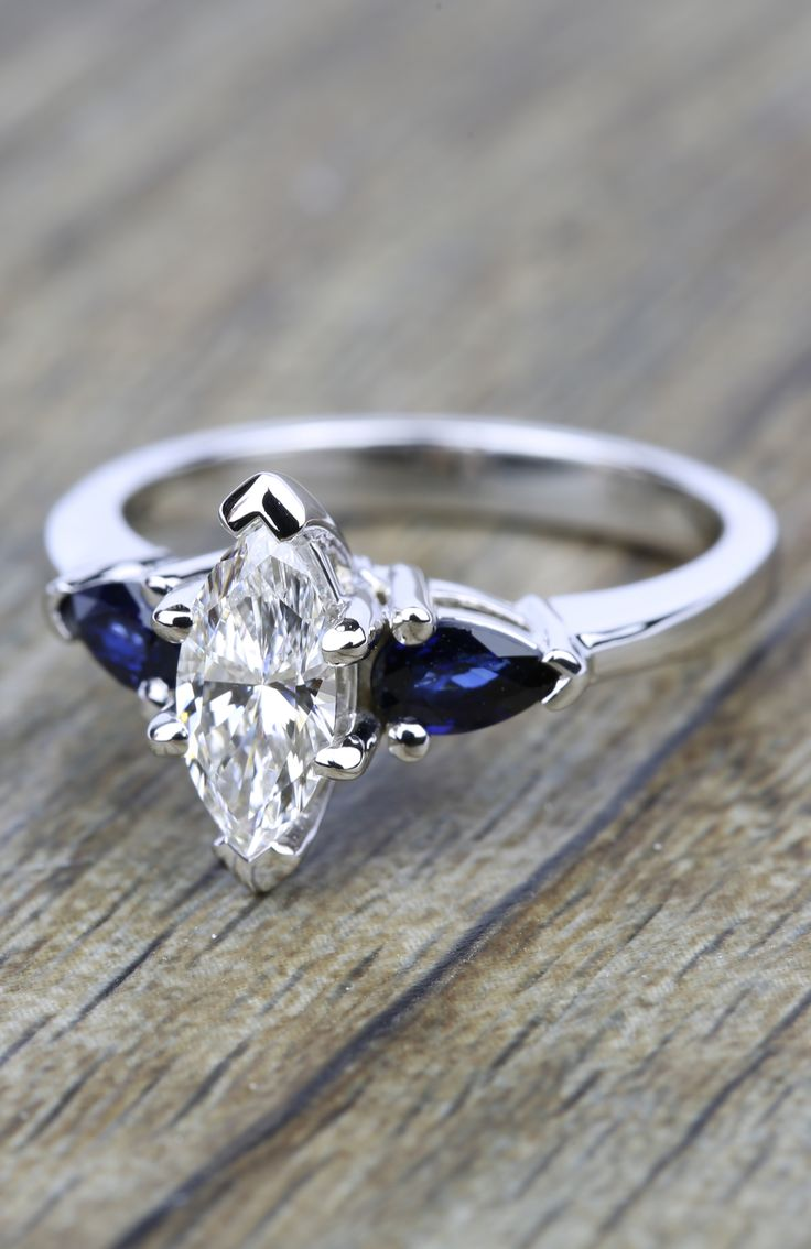 Would you say YES to this beautiful Pear Sapphire Gemstone Marquise Diamond Engagement Ring in White Gold?