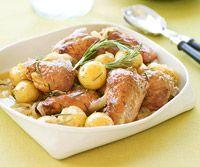 Honey Rosemary Chicken.Olive Oil, Chicken Crock Pots, Chicken Recipe, Slow Cooker Chicken, Gold Potatoes, Chicken Thighs, Crockpot Recipe, Honey Rosemary Chicken, Crock Pot Recipes