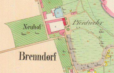 Spálená - zámek Nový Dvůr | dvůr se zámkem na mapě stabilního katastru z roku 1842
