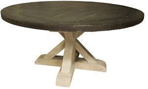 """60"""" Round Zinc Top Table with Vintage Grey Wash Wood Base, Down Home Furnishings Ojai"""