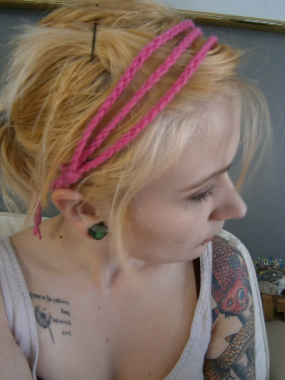Crochet Pink Headband by DanielleSeevers on Etsy, $3.00