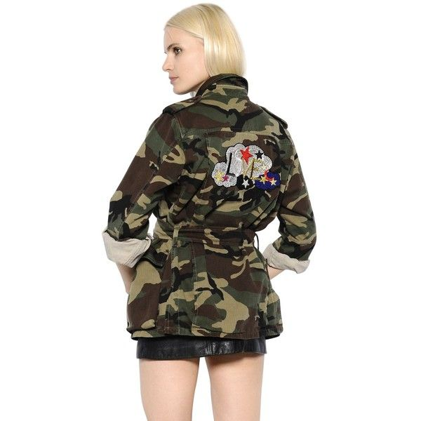 Saint Laurent Women Camouflage Denim Parka W/ Love Patch ($1,445) ❤ liked on Polyvore featuring outerwear, coats, khaki, pattern coat, khaki coat, parka coat, camouflage coat and denim parkas