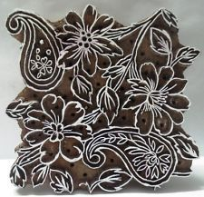 INDIAN WOODEN HAND CARVED TEXTILE PRINTING FABRIC BLOCK STAMP FLORAL N PAISLEY