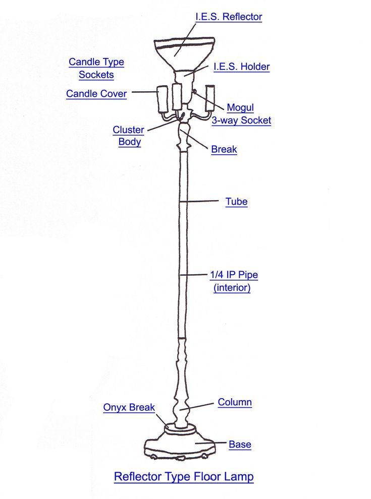Reflector Type Floor Lamp Part Index Lamp Parts Antique Floor