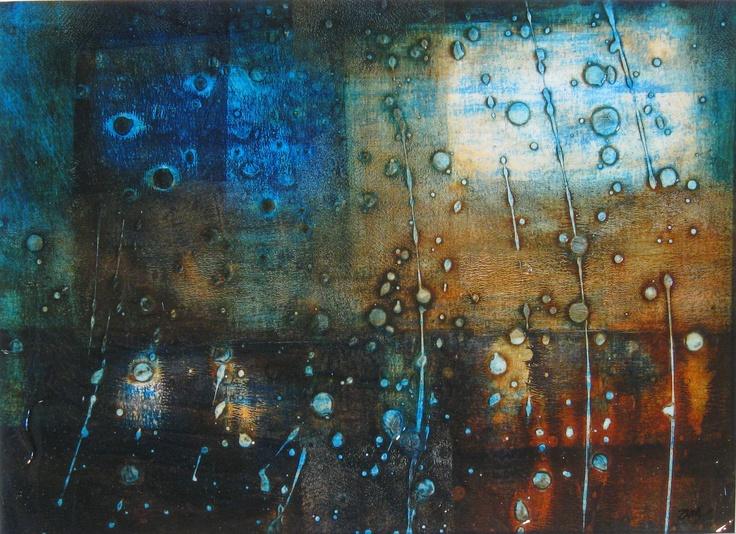 """""""rainy night"""" 11x14 acrylic by a marshall"""