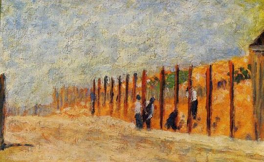 Peasants Driving Stakes via Georges Seurat      Medium: oil on canvas