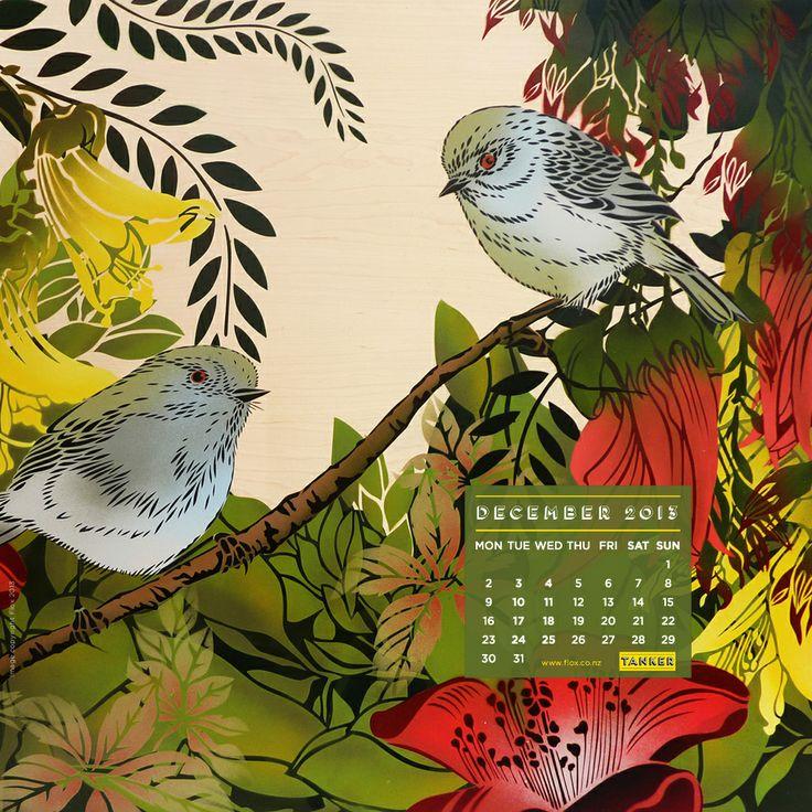iPad sized Dec Desktop Calendar featuring Flox, from www.tankercreative.com