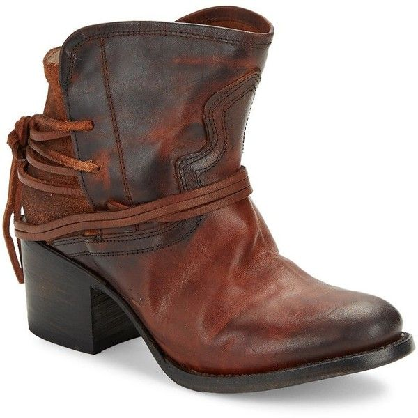 Freebird By Steven Casey Leather Ankle Boots ($245) ❤ liked on Polyvore featuring shoes, boots, ankle booties, cognac, ankle boots, cognac booties, leather lace up boots, lace up booties and western boots