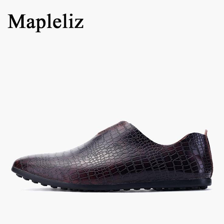 Nouveau Printemps Hommes en cuir véritable crocodile en cuir fou Driving Chaussures Hommes Mocassins doux Doug Chaussures en HPmr5Z7hC